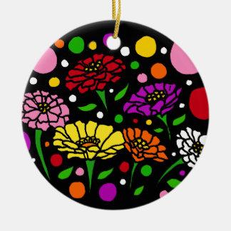 おもしろいのカラフルな《植物》百日草の花の抽象美術 陶器製丸型オーナメント
