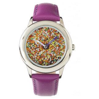 おもしろいのカラフルは甘いドーナツドーナツを振りかけます 腕時計