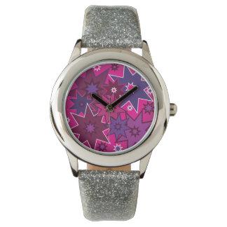 おもしろいのガーリーなピンクの紫色の星パターン 腕時計