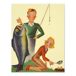 おもしろいのキャンプの魚釣りの空白のな招待状の発表 10.8 X 14 インビテーションカード