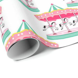 おもしろいのサーカスの回転木馬のパーティーの包装紙 ラッピングペーパー