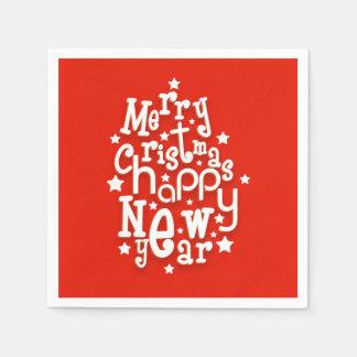おもしろいのタイポグラフィのメリークリスマスの明けましておめでとう スタンダードカクテルナプキン