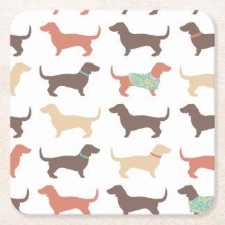 おもしろいのダックスフント犬パターン スクエアペーパーコースター