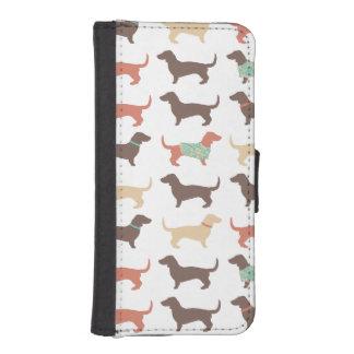 おもしろいのダックスフント犬パターン iPhoneSE/5/5sウォレットケース