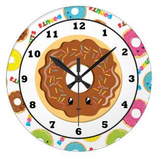 おもしろいのドーナツ店パターン柱時計 ラージ壁時計