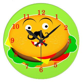 おもしろいのノベルティのチーズハンバーガー ラージ壁時計