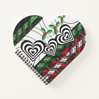 おもしろいのハート形の喜びおよびジングルの休日のノート ノートブック