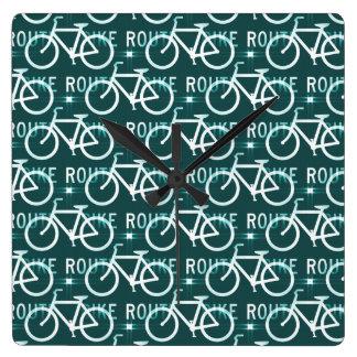 おもしろいのバイクのルートのFixieのバイクのサイクリストパターン スクエア壁時計