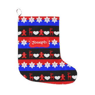 おもしろいのパターン(の模様が)あるなお祝いのジンジャーブレッドマンのシカのハート ラージクリスマスストッキング