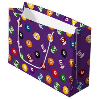 おもしろいのビリヤードのスポーツのパターンによってタイルを張られるパーティーのバッグ ラージペーパーバッグ