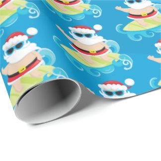おもしろいのビーチのサーフィンのクリスマスのサンタの覆いのパーティー ラッピングペーパー