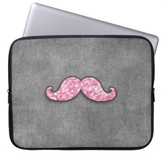 おもしろいのピンクのグリッターの髭の灰色の黒板 ラップトップスリーブ
