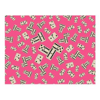 おもしろいのピンクのドミノパターン ポストカード