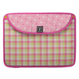 おもしろいのピンクの格子縞の水玉模様のMacbookのプロ袖 MacBook Proスリーブ