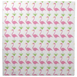 おもしろいのピンクの芝生のフラミンゴのレトロのかわいいおよび熱帯 ナプキンクロス