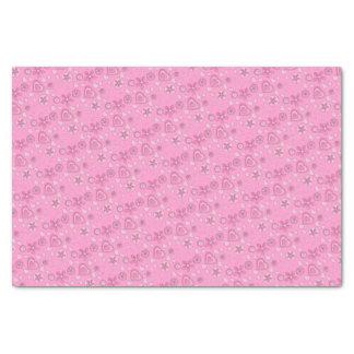 おもしろいのピンクの花のハートのデザイン 薄葉紙