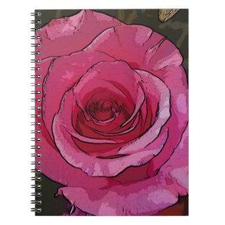 おもしろいのピンクの芸術的でシックなバラの花びら ノートブック