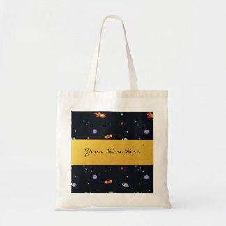 おもしろいのファンキーなレトロの宇宙ロケット及び惑星 トートバッグ