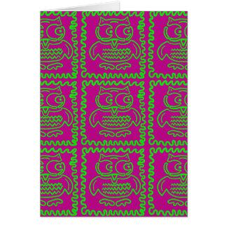 おもしろいのフクロウのパッチワークキルトは紫色のライムグリーンを平方します カード