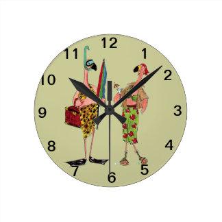 おもしろいのフラミンゴの柱時計 ラウンド壁時計