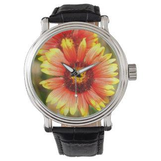 おもしろいのフロリダの野生の花の革バンド腕時計 腕時計