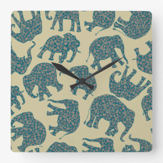 おもしろいのベージュ柱時計のDitzyペイズリー象 スクエア壁時計