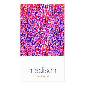 おもしろいのモダンでカラフルなピンクの紙吹雪のサロン スタンダード名刺