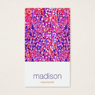 おもしろいのモダンでカラフルなピンクの紙吹雪のサロン 名刺