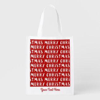おもしろいのモダンでメリーなメリークリスマスの休日のカスタム エコバッグ
