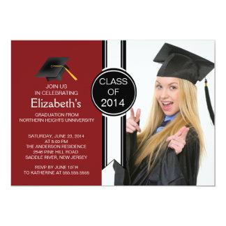 おもしろいのモダンの卒業生の写真の卒業パーティー 12.7 X 17.8 インビテーションカード