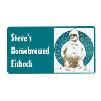 おもしろいのラベルのカッコいいの雪だるまのHomebrewのアイス・ビールのeisbock ラベル