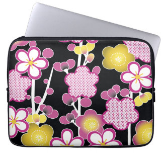 おもしろいのレトロのピンクおよび黄色い花の花柄パターン ラップトップスリーブ