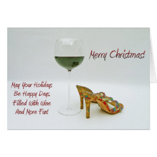 おもしろいのワインおよび靴のクリスマスの挨拶状! カード