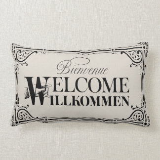 おもしろいのヴィンテージの歓迎の枕-あなたの色を選んで下さい ランバークッション