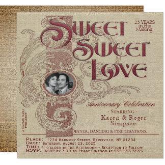 おもしろいのヴィンテージ記念日のパーティの招待状 カード