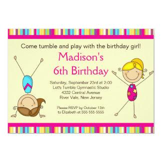 おもしろいの体操の子供の誕生日のパーティの招待状 カード