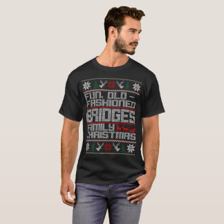 おもしろいの古いファッション、橋家族のクリスマス Tシャツ