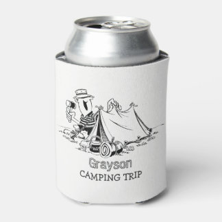 おもしろいの名前入りな素朴なテントのキャンピングカーのキャンプ旅行 缶クーラー