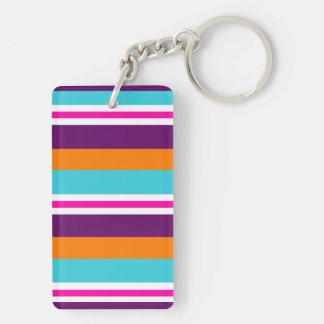 おもしろいの夏のピンクのティール(緑がかった色)のオレンジ紫色の縞模様 キーホルダー