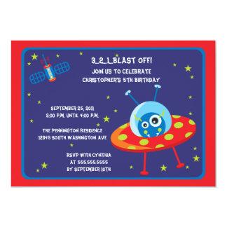 おもしろいの外国の宇宙船の男の子の誕生会の招待 カード