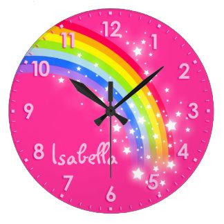 おもしろいの女の子の子供の虹の名前のピンクの時計 ラージ壁時計