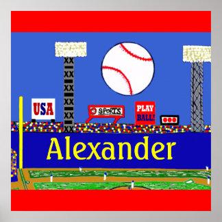 おもしろいの子供の野球名前入りなポスター芸術のギフト ポスター