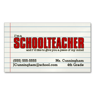 おもしろいの学校の先生の磁気接触カード マグネット名刺