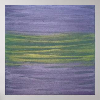 おもしろいの抽象芸術|のすみれ色の紫色のライムグリーンのオリジナル ポスター