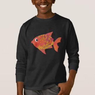 おもしろいの明るいオレンジ魚、子供の長袖のTシャツ Tシャツ
