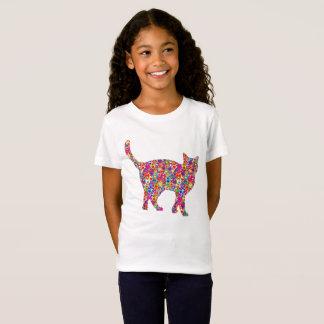 おもしろいの明るくカラフルな動的ハートに満ちた猫 Tシャツ