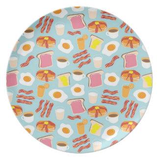 おもしろいの朝食用食品のイラストレーションパターン プレート