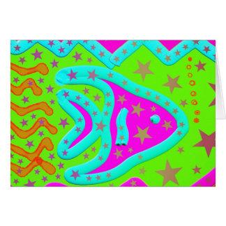 おもしろいの水生魚の星のカラフルな子供の落書き カード