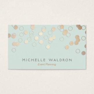 おもしろいの淡いブルーの陽気な金ゴールドの紙吹雪のイベントプランナー 名刺