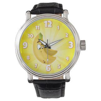 おもしろいの漫画のバナナの人の腕時計の黄色 腕時計